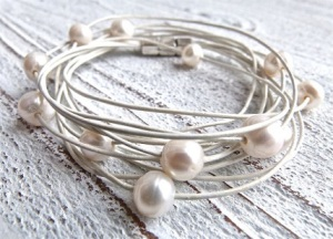 White Leather Pearl Bracelet